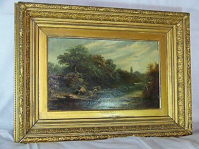"""William Henry Mander  """"A Welsh River"""" c19th C Original Oil On Canvas Painting"""