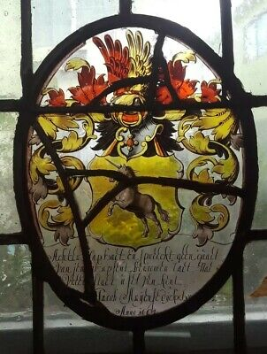 RARE MUSEUM QUALITY EARLY 17th C. FLEMISH STAINED GLASS WINDOW PANEL