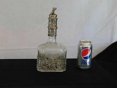 RARE Antique Victorian c1800's Sterling Silver Engraved Crystal Decanter