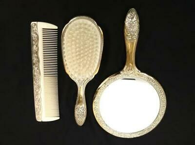 Vtg TOWLE Japan 3pc Dresser Set - Brush, Comb & Mirror Floral Design Silverplate