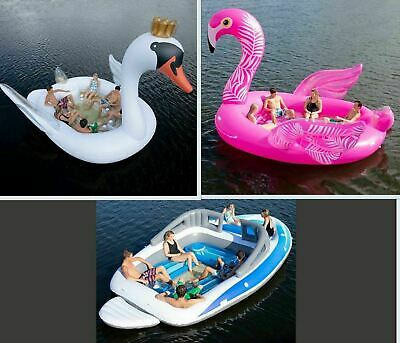 Big Inflatable 6 Person Party Island Water Float Lounge Swan Boat Flamingo NIB!!