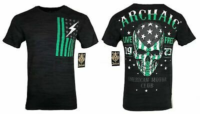 ARCHAIC by AFFLICTION Mens T-Shirt FLAG SMASHER Skull Wings MMA Biker GYM $40