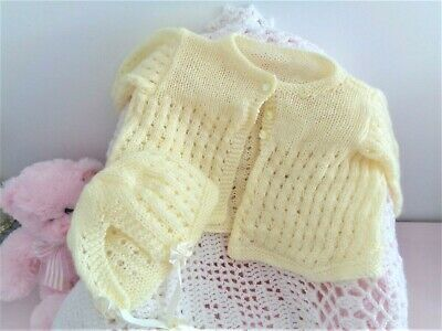 Sweet Vintage Knit Jacket And Bonnet For Reborn Doll Or Premmie Baby