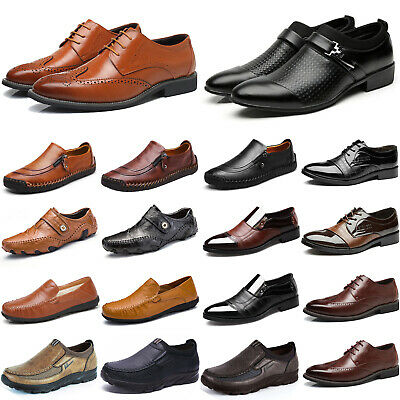 Men's Leather Casual Dress Office Formal Shoes Work Oxfords Business Brogue Size