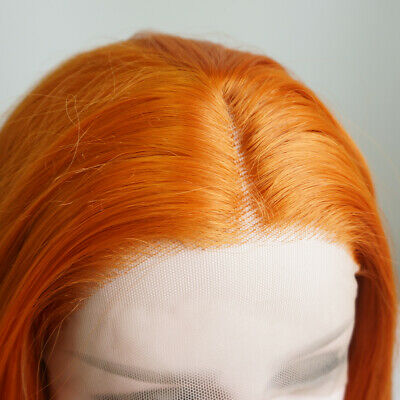 """AU 24"""" Lace Front Wig Light Orange Silky Straight Women Synthetic Hair"""