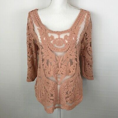 ME My Emblem Womens Sheer Top Large Embroidered Peach Nude Color Pullover