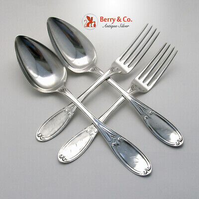 Chicago Tablespoons Dinner Forks Set Coin Silver Whatley 1850 Mono KCQ