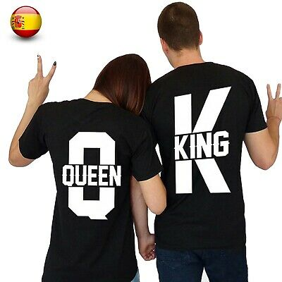 2 Camisetas Rey y reina Top King queen, Camisetas de Pareja Algodon Modelo 2019