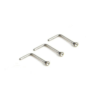 3x Nose Stud Surgical Steel 1.5mm Clear Gem L-Shape Pin Straight Piercing