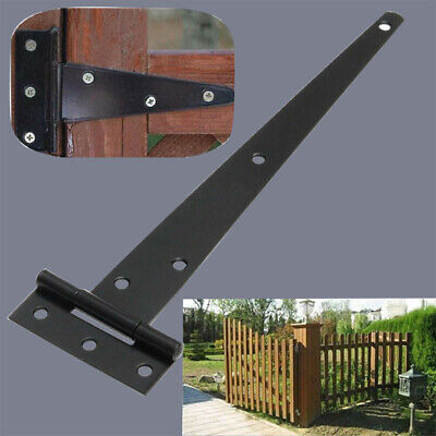 2 X Iron Tee Hinges Black Heavy Duty Strap Cabinet Hinge Garden Shed Gate Repair