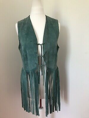 Vintage 60s 70s fringe suede waistcoat psychedelic festival hippy mod turquoise