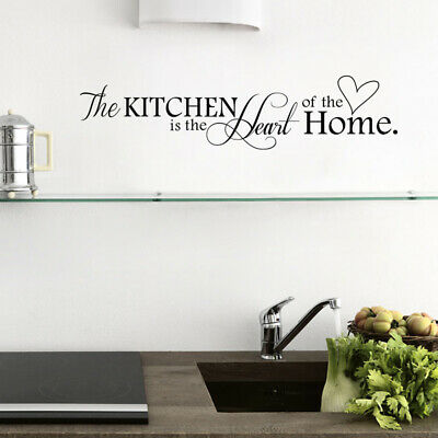 New Kitchen Is Heart of The Home Letter Pattern Wall Sticker PVC Removable Home