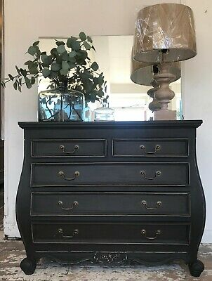 French Style Bombe Chest - Rustoleum 'Graphite' - Home Sweet Home Store