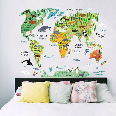 Funny & Educational Removable PVC Mural Wallpaper Animal World Map Wall