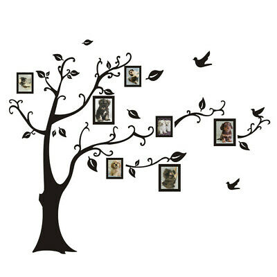 Large 110*90cm/43*35in  Black 3D DIY Photo Tree PVC Wall Decals/Adhesive Family