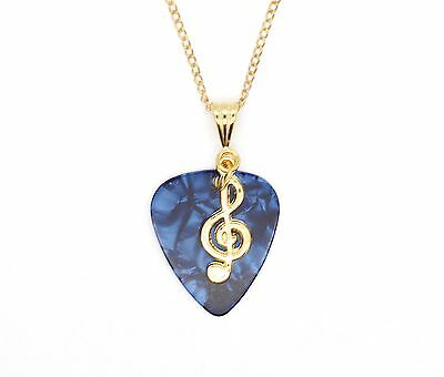 Blue Guitar Pick With Treble Clef On Gold Plated Chain Necklace Gift Idea