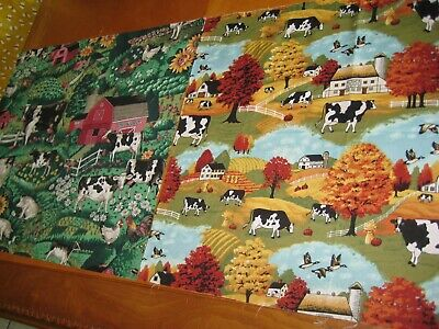 2 FAT QUARTERS COW CATTLE FARM RANCH 100% COTTON FABRIC Animals OOP
