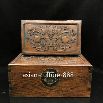 Chinese old antique huang huali wooden hand carved bat box A SET