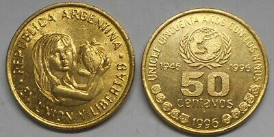 ARGENTINA 50 Centavos 1996 50th Anniversary of UNICEF  BU