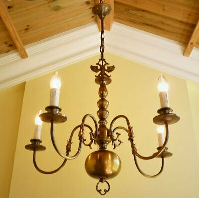 Large antique vintage French chic brass flemish 5 lamp ceiling light chandelier