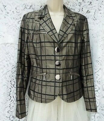 ☆AIRFIELD Designer☆Beautiful Quality Dressy Blazer Pewter & Black 38 UK 10/12
