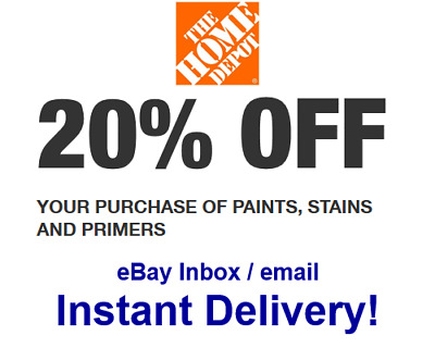 Home Depot 20% OFF paint primer Promo.1Coupon In-store Only - FAST Delivery!