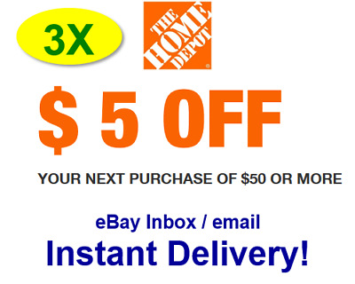 (3X)THREE Home Depot $5 OFF $50 Promo.1Coupon In-store Only - FAST Delivery!