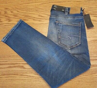 NWT MEN'S SILVER JEANS Multiple Sizes Eddie Relaxed Fit Taper Leg Indigo