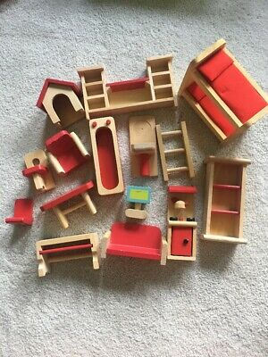 Wooden Dollhouse Playhouse Furniture Lot Bath Toilet Stove Doghouse Bunkbed TV