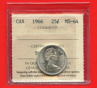 1966 Canada Silver 25 Cent Graded ICCS MS64 Certification # SG 120
