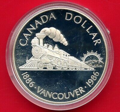 "1986 Canada Silver Dollar Coin ""Vancouver 100th"" 23.3 Grams .500 In Capsule"