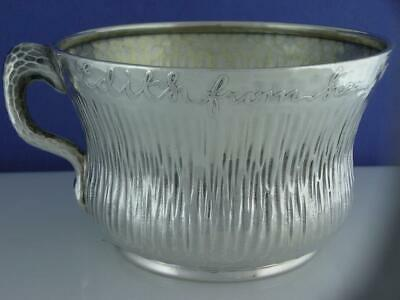 Sterling TIFFANY & CO Cup / Mug AESTHETIC w/ hammered finish & acid etched c1883