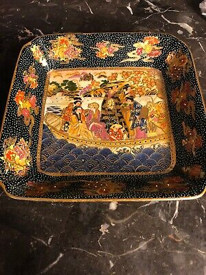 Fine Antique Vintage Geisha Girls Japanese Satsuma Bowl 8 1/4""