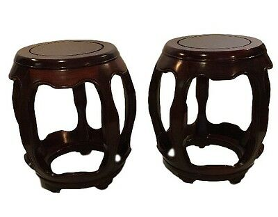 2 Antique Vintage Chinese Rosewood Barrell End Tables Drum Stool Carved Rare