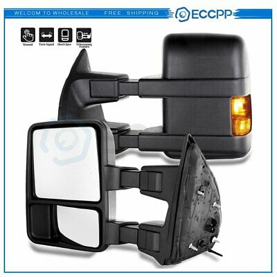 Driver Left side Manual W//Turn Signal Lights For 08-2016 F250-F550 Towing Mirror