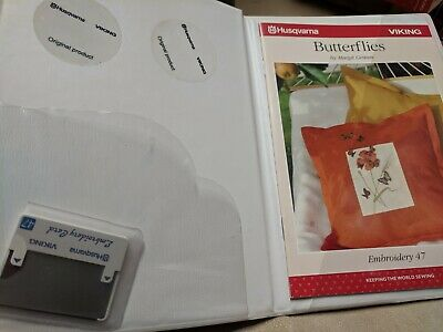 Husqvarna Viking Embroidery 47 Card Booklet #47 Sweden Free Shipping Butterflies
