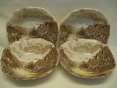 """Johnson Brothers Olde England Countryside Multicolor (4) 6 1/4"""" Cereal Bowls Exc"""