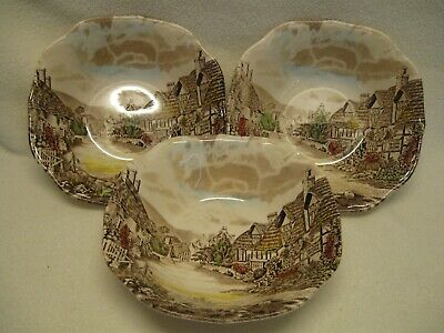 """Johnson Brothers Olde England Countryside Multicolor (3) 6 1/4"""" Cereal Bowls Exc"""