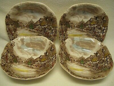 """Johnson Brothers Olde England Countryside Multicolor (4) 6 3/4"""" Soup Bowls Exc."""