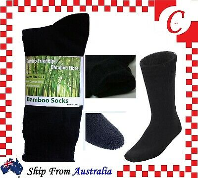 4 / 7 Pairs 90% BAMBOO SOCKS Men's Heavy Duty Premium Thick Work BLACK Bulk New