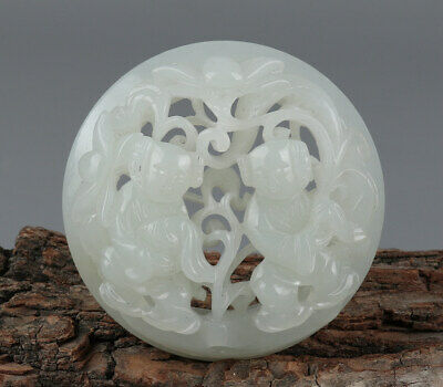 Chinese Exquisite Hand-carved Two children Carving Hetian jade Hollow Pendant