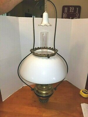 Antique Bradley Hubbard & Rayco Hanging Oil Lamp