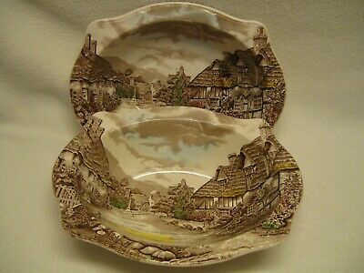 """Johnson Brothers Olde England Countryside Multicolor (2) 9"""" X 7"""" Vegy Bowls"""