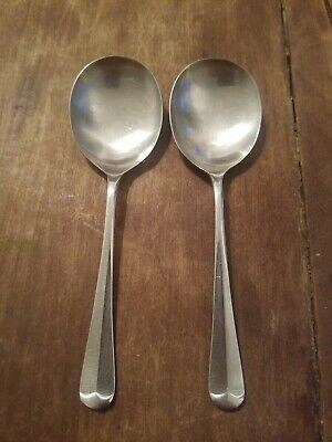 Cooper Bros England Satin Finish Stainless Queen Anne Rat Tail Soup Place Spoon