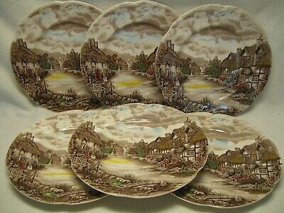 "Johnson Brothers Olde England Countryside Multicolor (6) 10"" Dinner Plates As"