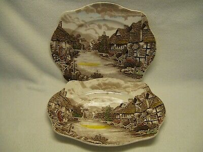 """Johnson Brothers Olde England Countryside Multicolor (2) 12"""" Platters Exc."""