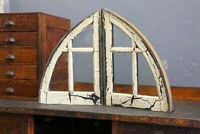 Antique arched colonial window frame sash Church Steeple Half moon vintage old