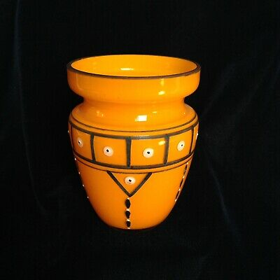 Art Deco Tango Czech Bohemian Enamel Enameled Glass Vase