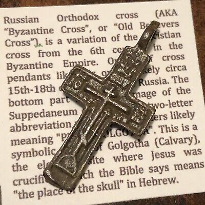 Authentic Byzantine Cross Pendant Late Medieval Artifact European Orthodox XX