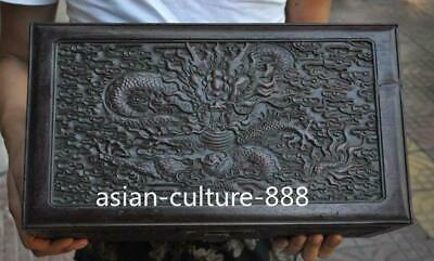 """14"""" Old Chinese Huang huali wood carving Dragon statue Jewelry Box"""